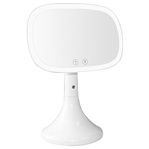 SODIAL Led lighted makeup mirror,Moisturizing spray rechargeable vanity mirror Desk lamp Touch screen Table cosmetic mirror-white by SODIAL