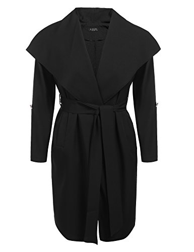 IN'VOLAND Plus Size Women's Lapel Long Trench Coat Blended Jacket Outwear Cardigan