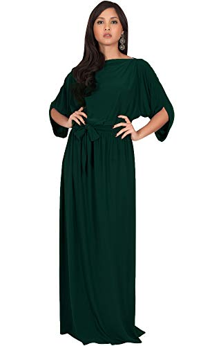 - KOH KOH Plus Size Womens Long Flowy Casual Short Half Sleeve with Sleeves Fall Winter Floor Length Evening Modest A-line Formal Maternity Gown Gowns Maxi Dress Dresses, Emerald Green 3XL 22-24