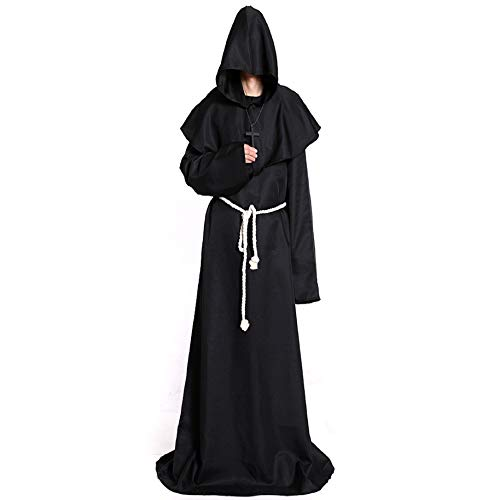 Halloween Costume Medieval Priest Robes Monk Robe-Hooded Cape Cloak for Wizard Sorcerer Pastor Halloween Outfit Black A040BS -