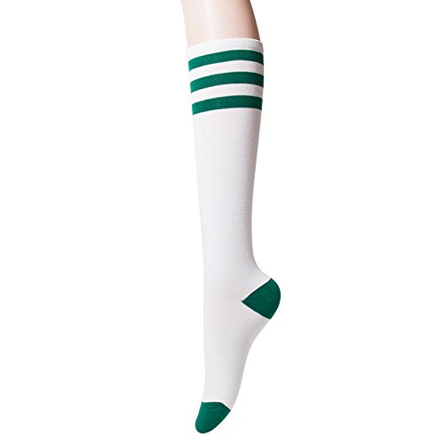 Sockstheway Womens Casual Knee High Tube Socks with Triple Stripes (1Pair, Green)
