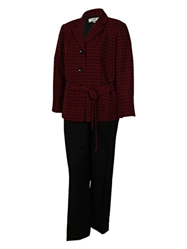 Le Suit Women's Two Color Business Suit Pant Set (24W, Ruby/Black)