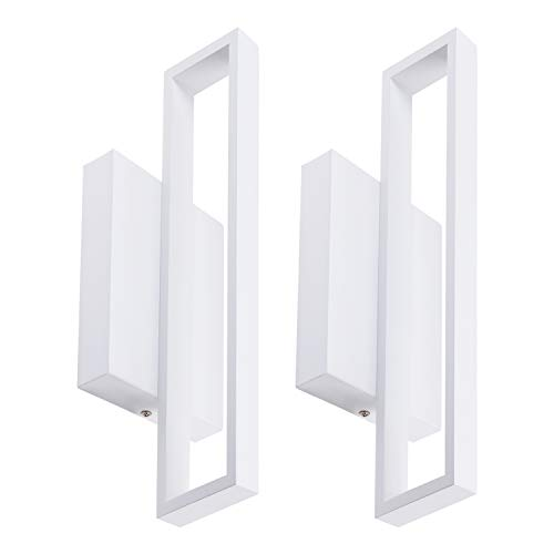 LEONLITE 12W LED Square Wall Sconce, LED Wall Lights, 50W Halogen Equivalent, 600lm Surface Mounted LED Wall Lamp, Room Decor for Office, Living Room, Bedroom, Hallway, Corridor, Pack of 2 (50w Wall Light)