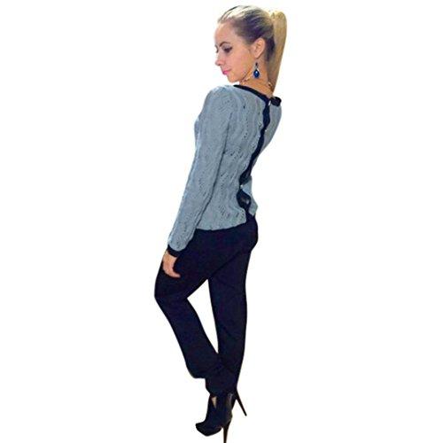 Mchoice Women Long Sleeve Round Neck Knitted Sweater Jumper Knitwear Outwear (L, Blue)