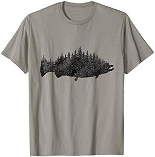 Fishing shirt Salmon Fishing Forest Treeline Fisherman shirt T-shirt | Size S - 5XL