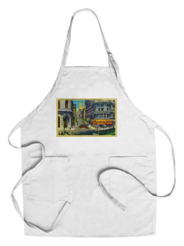 Powell Street with Cable Cars and Turntable (Cotton/Polyester Chef's Apron)