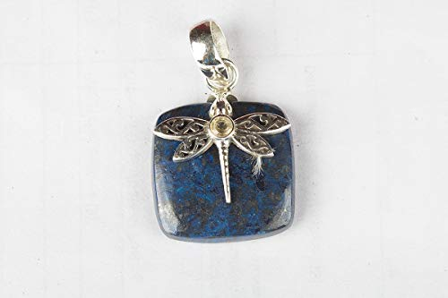 Azurite Malachite with Citrine Pendant 925 Sterling Silver Square Shape Butterfly Bird Lover Amazing Charming Pendant Handmade Jewelry
