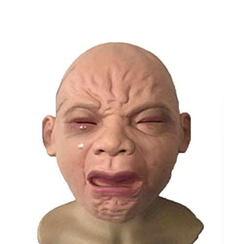 (Ocamo Funny Prank Crying Baby Face Halloween Mask Cosplay Mask for Festival Party)