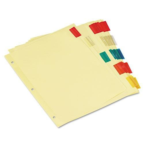 Universal 21870 Economical Insertable Index, Multicolor Tabs, 5-Tab, Letter, Buff, 6 Sets/Pack