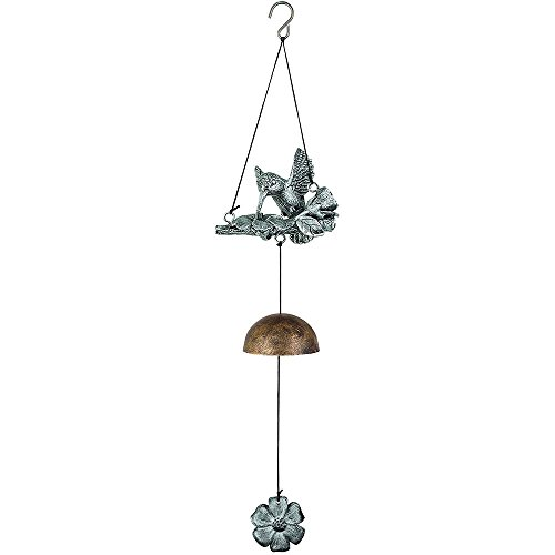 Keynote Collection Hummingbird Flowers Silvertone 17 Inch Metal Resin Hanging Windchimes