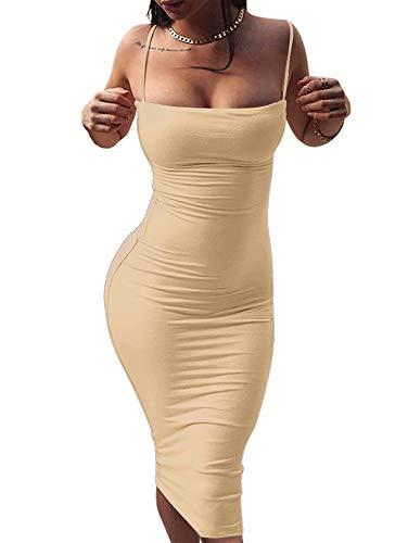 GOBLES Women's Sexy Spaghetti Strap Sleeveless Bodycon Midi Club Dress Khaki
