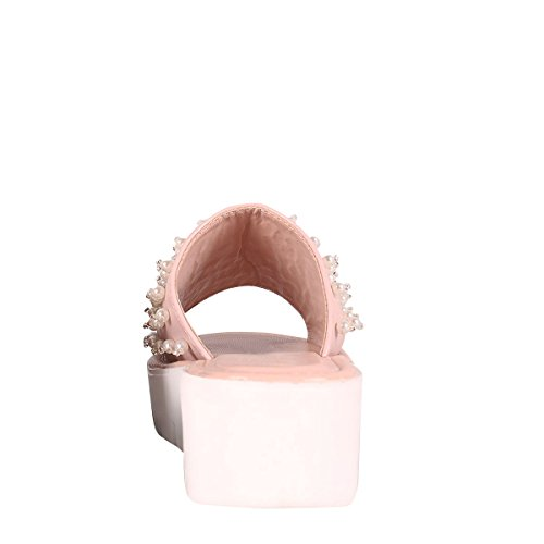 Cape Robbin Women Open Toe Pearl Slide Mules Mid Low Platform Wedge Lug Sole Sandals Pink rbXMQi