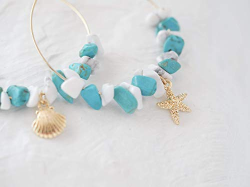 Starfish Shell Beach Hoop Earrings Mixed Simulated Turquoise & Simulated -