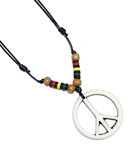 (LAVIP Leather Peace Sign Pendant -Peace Symbol Necklace Rasta Plaid Hippie Braid Hemp Hawaiian)