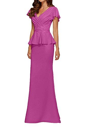 Chiffon V Ausschnitt Marie Pink Lang Abendkleider La Etuikleider Braut Partykleider Damen Brautmutterkleider twqTWaO