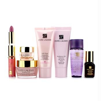 Estee Lauder Resilience Gift Set: Cleanser + Mask + Lotion + Face & Neck Cream + Eye Cream + Night Repair + Lipstick & Lipgloss - 7pcs