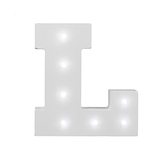 ARTSTORE Decorative DIY LED Letter Lights Sign,Light Up Wooden Alphabet Letter Battery Operated Party Wedding Marquee Décor,Cold White L]()