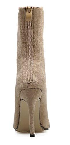Abricot Pointues Elastique Bottines Mode Fermeture Fille Eclair Femme Aisun Pwv8A
