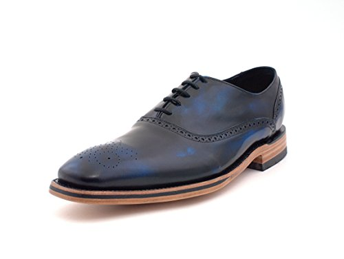 Calfskin Wingtip Shoes - Oxford Calfskin Imported fine Leather Formal and Dress Handcrafted Fashion Men Shoes (9.5, Brushed Blue)