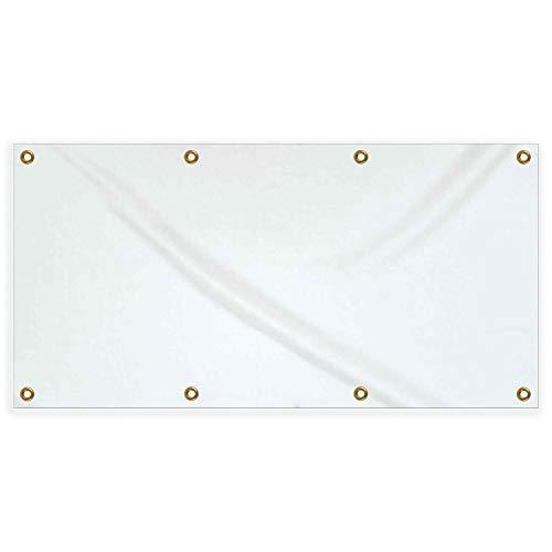 "Blank Vinyl Banner White 3x6ft (36""x72"") - White Vinyl Promotional Banners with Grommets"