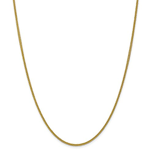 14k Yellow Gold 2mm 3 Wire Link Wheat Chain Necklace 20 Inch Pendant Charm Spiga Fine Jewelry Gifts For Women For Her