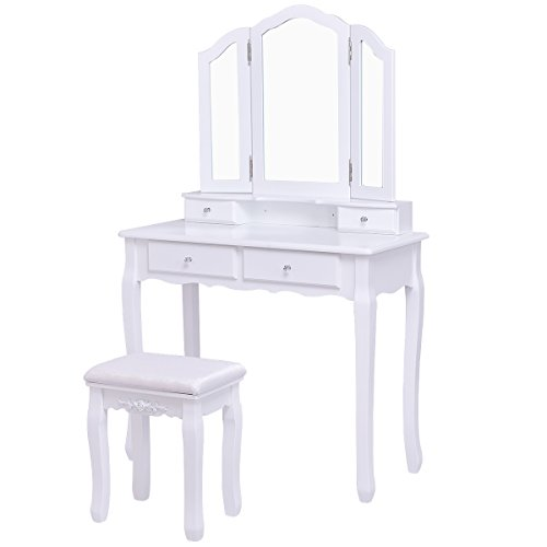 Giantex Tri Folding Mirror Vanity Makeup Table Stool Set Home Furni With 4 Drawers (White) by Giantex