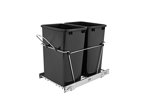Rev-A-Shelf Double 35 Quart Pullout Waste Containers, Qt, Black