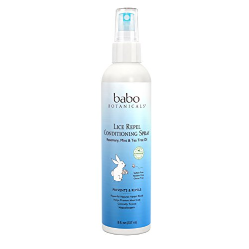 Babo Botanicals Lice Prevention Kids Conditioning Spray– Rosemary & Tea Tree, 8 Oz, Best Lice Repel & Prevention, Natural, Sensitive - Kid Chamomile Extract Liquid