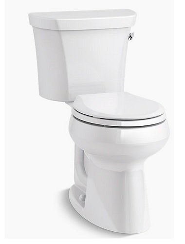 Kohler Highline Biscuit (Kohler Highline K-5481-RA-96 Comfort Height Two-Piece Round-Front 1.28 Gpf Toilet with Class Five Flush Technology and Right-Hand Trip Lever, Biscuit)