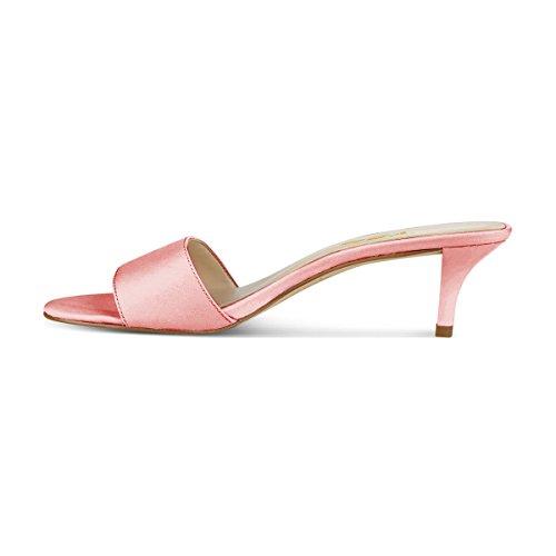 YDN Women Comfy Kitten Low Heel Mules Slip On Clog Sandals Open Toe Dress Pumps Slide Shoes Pink mLGHZu9g