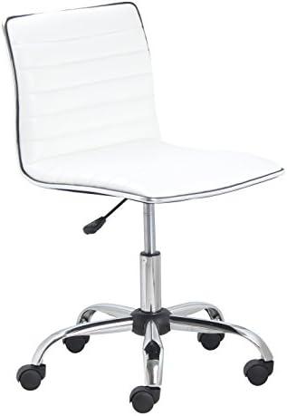 BTEXPERT BTExpert Swivel Mid Back Armless Ribbed Designer Task Chair Leather Soft Upholstery Office Chair