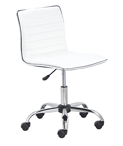 BTEXPERT 5029w BTExpert Swivel Mid Back Armless Ribbed Designer Task Chair Leather Soft Upholstery Office Chair - White (Swivel Desk Chair Leather)