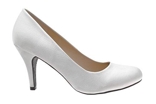 Andres Machado.AM422.Escarpins . Forme et talon classiques de 9 cm. Pointe de pied arrondie. Pour toutes les pointures de la 32 à la 45.… Satin Blanc