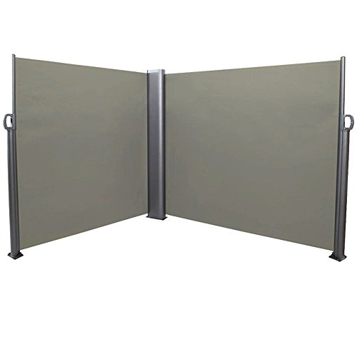 Sunnydaze Patio Retractable Double Privacy Wall, Corner Outdoor Folding Screen Divider with Steel Support Pole 10 x 6 Feet, Grey (Patio Screen Rooms Outdoor)
