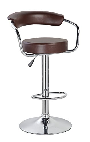 KERLAND PU Leather Swivel Adjustable Seat Height Home Kitchen Bar Stool Chair with Padded Back and Chrome Footrest, Brown
