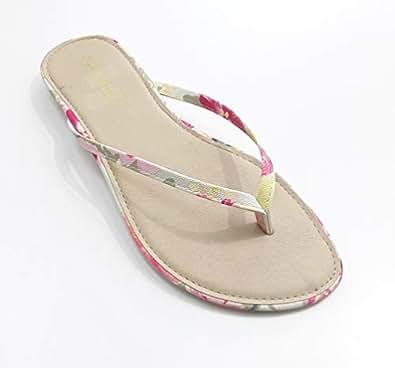 LEMEX Beige Thong Slipper For Women