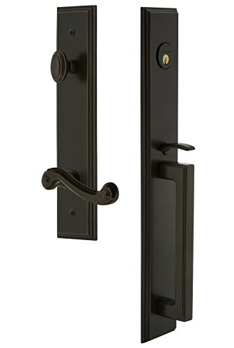 Grandeur 847444 Hardware Carre' One-Piece Handleset with D Grip and Newport Lever Size, Single Cylinder Lock-2.375