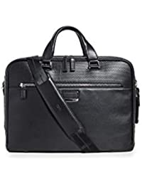 Men's Ashton Gibson Slim Briefcase, Black Perforated, One Size