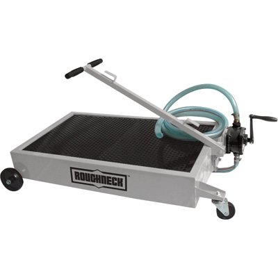 Roughneck Low-Profile Oil Drain Dolly with Pump - 15-Gallon Capacity (Roll In Pan Cart)