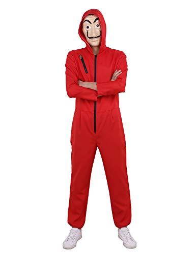 Alvivi Adult Unisex Salvador Dali Mask Money Heist La Casa De Papel Halloween Cosplay Costume Coverall Jumpsuits Red Large