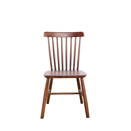 Bar stool Solid Wood Kitchen and Dining Chair with Wooden Seat, Oak, Wooden Chair (Color : Walnut Color)