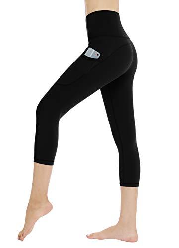 Dragon Fit High Waist Yoga Leggings with 3 Pockets,Tummy Control Workout Running 4 Way Stretch Yoga Pants (XX-Large, Capri29K-Black)