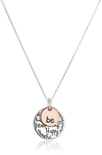 "Two-Tone Sterling Silver ""Be"" Graffiti Charm Necklace, 18"""