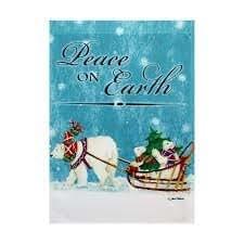 """Small Garden Flag 12.5 x 18 inch """" Peace on Earth"""" Polar Bear Pulling Sled"""