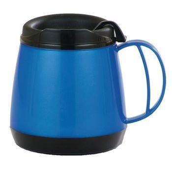- Sammons Preston Wide Body Thermo Mug, 20 oz, Blue, Foam Insulation Maintains Temperature of Hot & Cold Drinks, Durable Cup with Unbreakable Plastic Lining, Dent & Rust Proof, Ergonomic Handle
