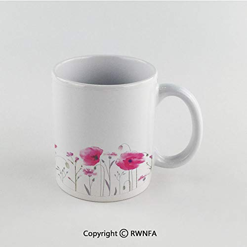 Fog Machine Mass - 11oz Unique Present Mother Day Personalized Gifts Coffee Mug Tea Cup White Lake House Decor,Mass of Flower Glade with Poppy Petals Summer Garden Field Elements Artwork,Pink Funny Ceramic Coffee Tea C
