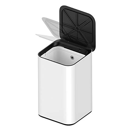 M MR.BIN Kick Bin Sensor Trash Can Creative Induction Waste Bin White Square Automatic Sensor Garbage Can,16 Liter/4.2 Gallon