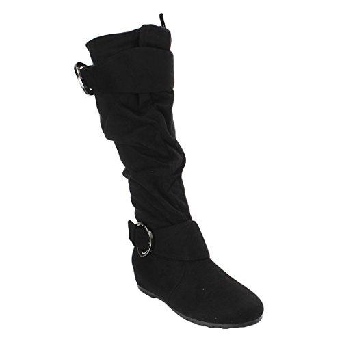 Voor Altijd Link Womens Knielange Gesp Accent Slouchy Scrunch Platte Laars Zwart