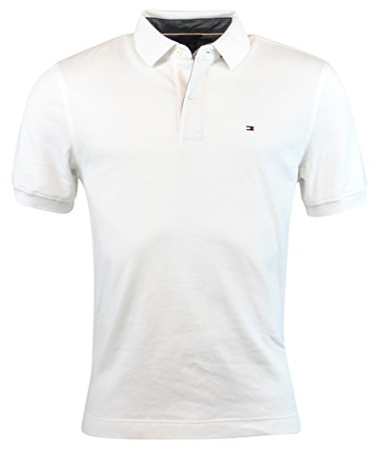 Tommy Hilfiger Mens Classic Fit Knit Cotton Polo Shirt - XL - White