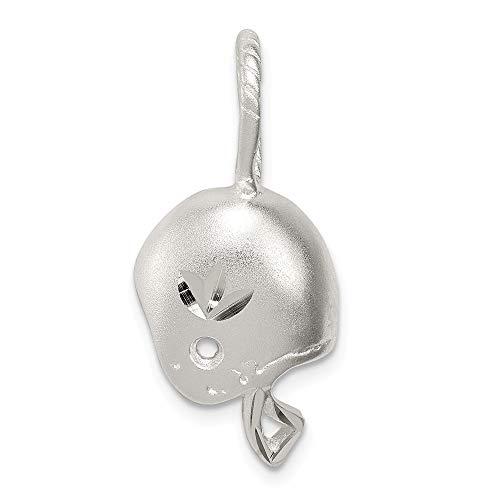 Solid 925 Sterling Silver Satin Diamond-Cut Football Helmet Pendant Charm (15mm x 25mm)